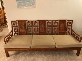 Vintage 1980 6 Piece Chinese Rosewood Living Room Set: 1sofa,  2 Chairs,  2 End Ta