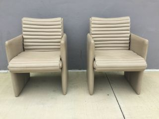 90s Vintage Leather High End Preview Vladimir Kagan Leather Club Chairs