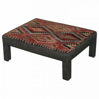 Vintage Kilim Upholstered Bench Ottoman Footstool Can Be As Coffee Table