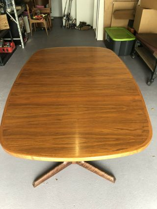 Vintage Handmade Banded Teakwood Dining Table And Chair Set