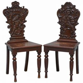 Vintage English Oak Occasional Hall Chairs Depicting King & Gentleman