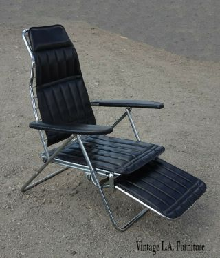 Vintage Mid Century Modern Black Chrome Recliner Chair 6 Positions To Flat