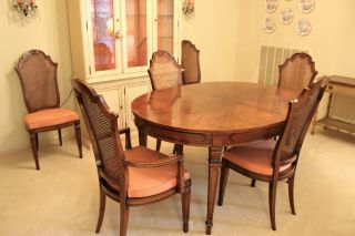 High - End Fancher Vintage Walnut Dining Table With 6 Cane Chairs
