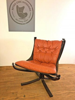 Vintage Retro Sigurd Ressell Leather Low Back Falcon Chair 1960,  S