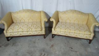 Pair Loveseats Settees Couches Designer Vintage Chippendale