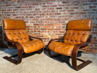 Oversized Vintage Ekrone 1970 Danish Bentwood Chairs Tan Leather