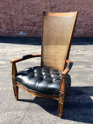 Antique Tall Cane Back Bergere Tufted Arm Chair French Regency Wood Leather