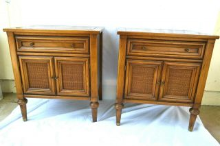 Vintage Pair Mid Century White Furniture Co.  Butternut Solid Night Stands