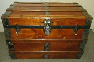Antique Steamer Trunk Vintage Victorian Mid Size Flat Top Chest Tray & Key C1890