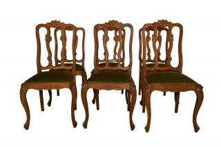 Vintage French Louis Xv Dining Chairs,  Set Of Six,  1940