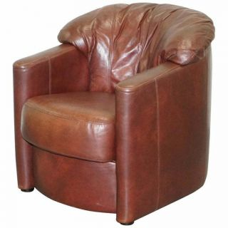 Lovely Vintage Hand Dyed Cigar Brown Leather Club Tub Armchair Shell Back