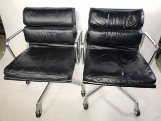 Herman Miller Eames Aluminum Group Management Chair Black Leather (2 Avail)