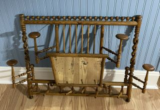 Antique Victorian Carved Oak Wood Wall Coat Hat Rack Mirror Hall Entry Rare L@@k