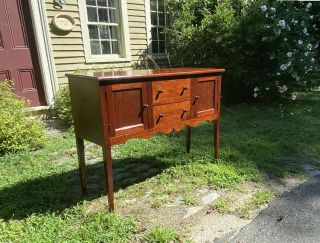Vintage J L Treharn Cherry Hand Crafted Hunt Board Or Sideboard Youngstown Ohio