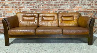 Vintage Danish 1970 Tan Leather Three Seater Sofa With Berger Sides And Back