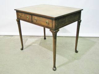 Vintage Baker Furniture Federal Mahogany Writing Table Leather Top & Two Drawers