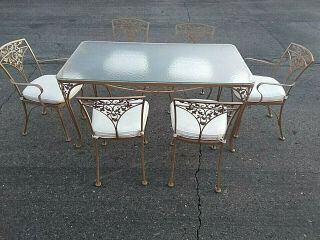 Vtg Patio Set Table Orleans Woodard 6 Chairs Acorn Delivery Available