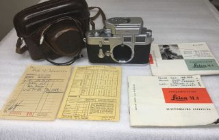 Vintage Leica M3 Ds Early 1955 Camera Body W/m Meter & Case; 1 Owner; Sn 748008