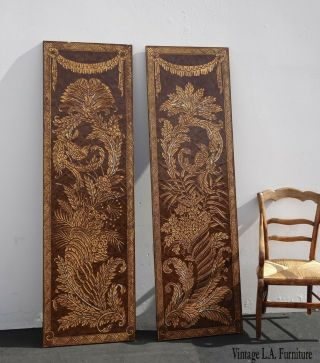 Pair Vintage Asian Oriental Maitland Smith Style Two Panel Screens Wall Pictures