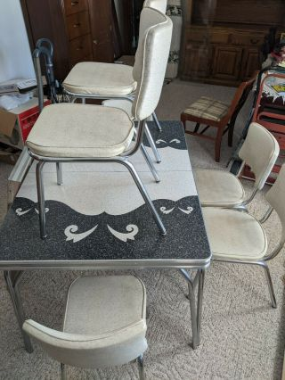 Vintage 1950s Gray And White Formica Chrome Table Dinette Set 6 Vinyl Chairs