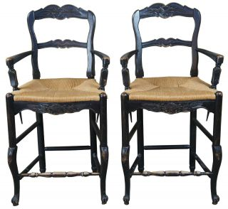 2 Vtg Country French Oak Ladder Back Counter Bar Stools Rush Seat Arms Farmhouse