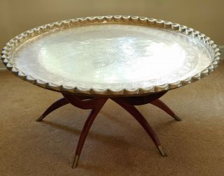"""Vintage 40 """" Brass Tray Table With Rosewood Base"""