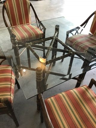 Vtg Mid Century Mcguire Dining Table & Four Rattan Cathedral Bamboo Arm Chairs
