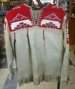 Vintage Authentic Sioux Beaded And Quilled War Shirt 1351