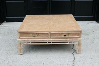 Vintage Hollywood Regency Mid Century Bamboo Chinoiserie Coffee Table