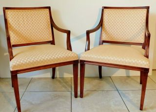 Pair Antique/vtg Hickory Furniture Solid Mahogany Upholstered Accent Arm Chairs