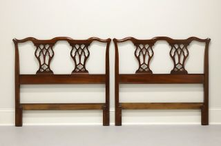 Vintage Mid 20th Century Mahogany Chippendale Twin Headboards - Pair