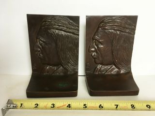 Vtg Antique Bookends Profile Native American Indian Bust Heavy Griffoul Bronze