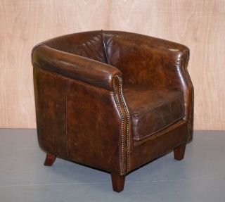 Lovely Vintage Aged Cigar Brown Leather Tub Chair