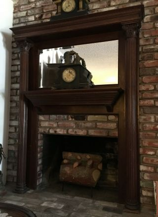 Antique Fireplace Mantel Old Vtg Victorian Carved Wood Mirror Surround Furniture