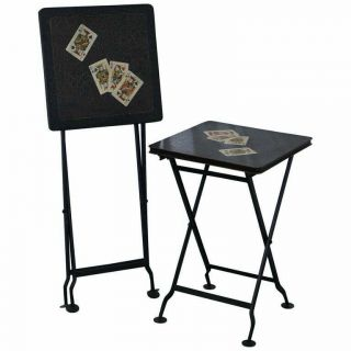 Stunning Rare Vintage Hand Painted Folding Metal Card Games Side Tables