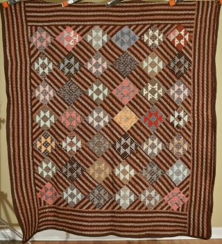 """Handsome Vintage 1870s """" Double X """" Antique Quilt Early Brown Copper Madder Print"""