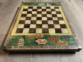 Sticks Furniture Vintage Custom Chess/checkers Game Table (2000)
