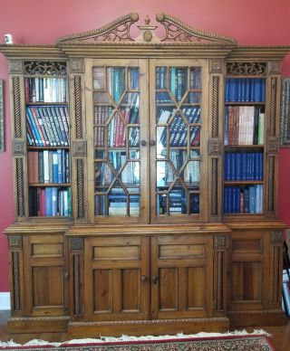 Antique - Style Solid Wood Bookcase With Glass Doors,  Piece & Spacious