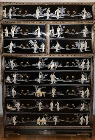 Vintage Asian Chinese Mother Of Pearl Inlay 10 Drawer Dresser Chest