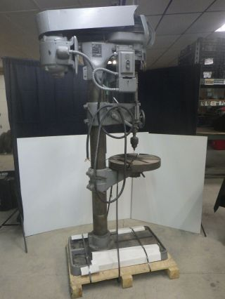 Vintage Buffalo No 22 8 Speed Drill Press W/power Feed,  Slotted Table 220 3ph
