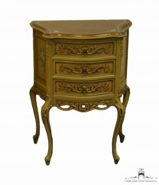 Vintage Antique Louis Xvi French Provincial Hand Carved Two Drawer Nightstand.