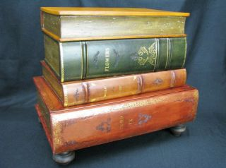 Vtg.  Italian Leather Occasional Table In The Form Of Stacked Books; Maitland