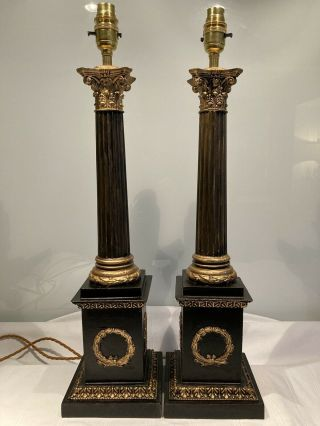 Vintage Classical Reeded Corinthian Column Table Lamps