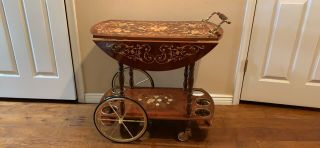 Vintage Rolling Bar Marquetry Inlay Trolly Drink Cart Italy