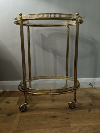 Vintage French Oval Brass Drinks Trolley Bar Cart,  Been In Storage