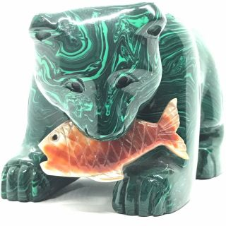 Large 3 Lbs.  Natural Malachite Bear Carving With Fish Vtg Hand Carved Gemstone