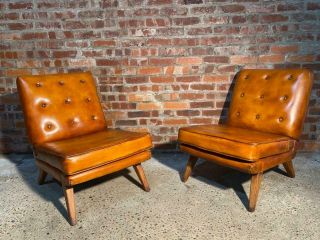 Vintage Retro 1970 Chairs Tan Leather Hand Dyed