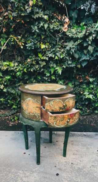 A Vintage Green Floral Italian Handpainted Small Table