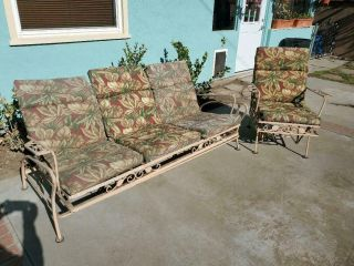 Vintage Wrought Iron Outdoor Glider And Chair