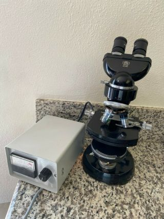 Vintage Carl Zeiss Binocular Phase Contrast Microscope - Two Objective Lenses